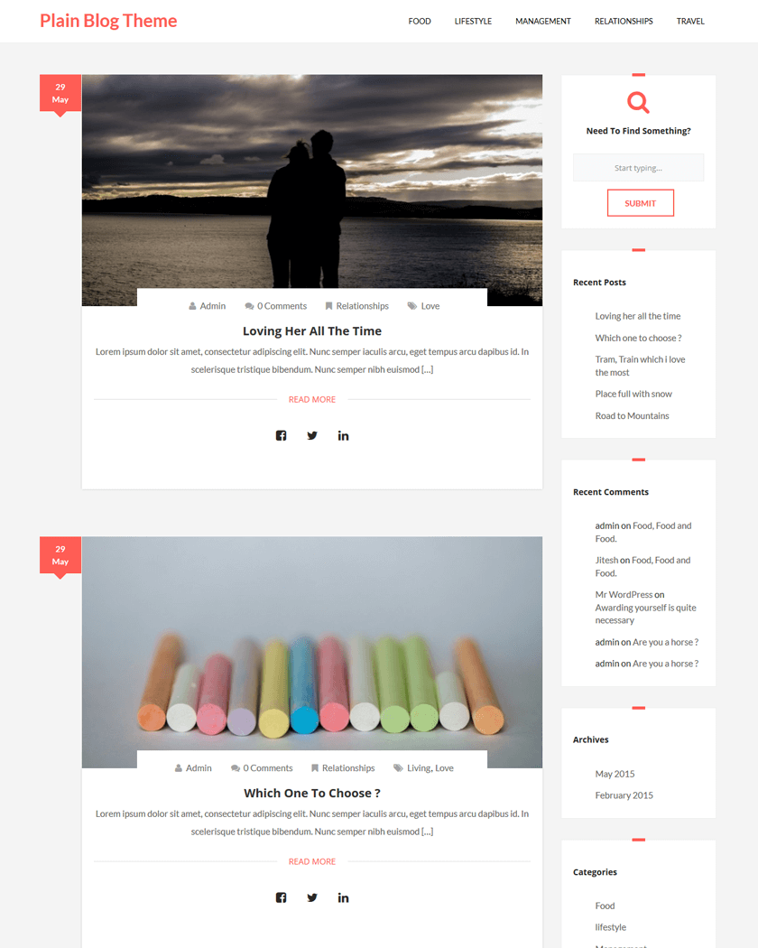 Plain Blog Theme